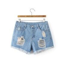 2017 летние шорты женщин случайных высокой талией джинсы тонкий джинсовые шорты синие джинсы женщина