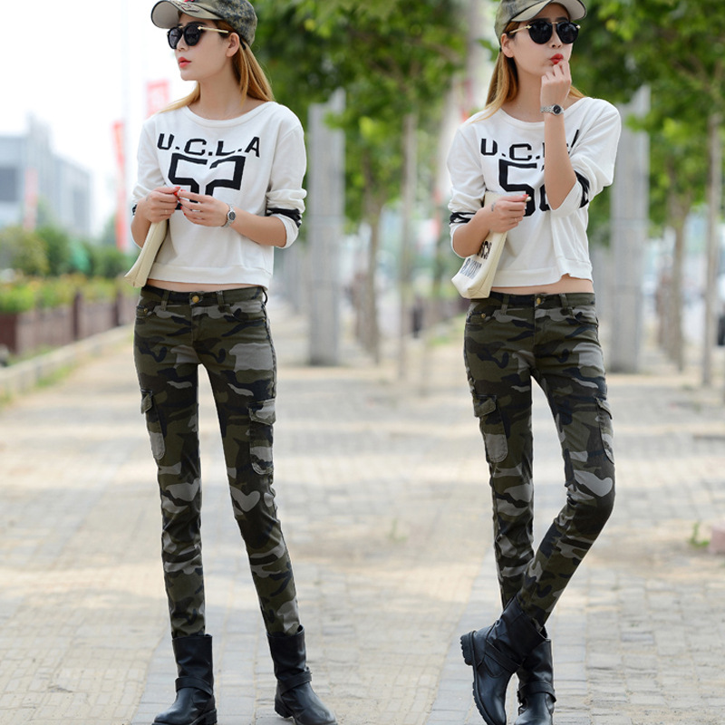 2019 New fashion camouflage denim pants push up high waist   jeans   9P17