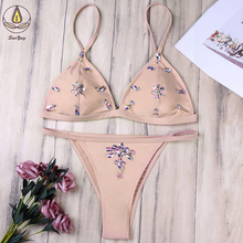 Sexy Sequin Bikini Set With Crystal Female Pink Push Up Swimwear Women's String Swimsuit Bathing Suit Swim Biquini Thong все цены