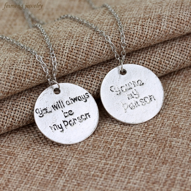 Grey Anatomy Necklace Hot Sales Letter You Are My Person You Will Always Be My Person Pendant Necklace Wholesale In Pendant Necklaces From Jewelry