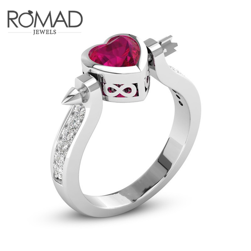 ROMAD Cupid Arrow Red Heart Rings for Women Engagement Red Stone Crystal Ladies Party Wedding Finger Ring With AAA CZ Zircon R4