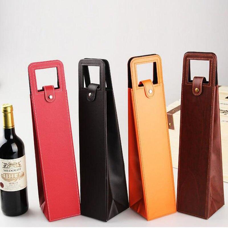Luxe Draagbare Pu Lederen Wijn Zakken Rode Wijn Fles Verpakking Case Gift Opslag Dozen Met Handvat Bar Accessoires