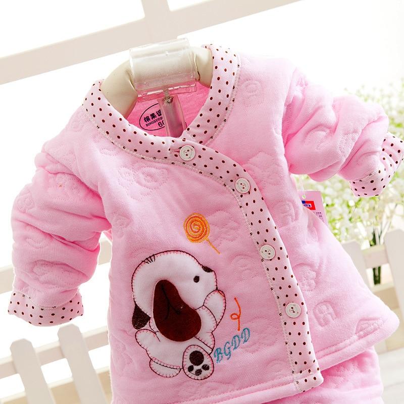 452434c70 2PCS Thick Cotto Baby Sets Warm Girls Boys Top Pants Set Winter Dog ...