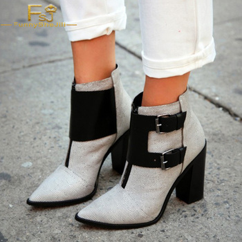 FSJ Fashion Autumn Spring Grey Chunky Heels Woman Ankle Booties Pointy Toe Buckles Boots Shoes With Zipper Tenis Feminino 4-16