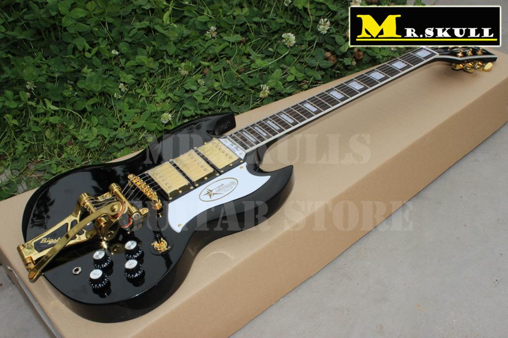 OEM SG Guitars black color Gib SG custom electric guitar with bigsby free shipping custom paul black 3 pickups golden hardware electric guitar with bigsby