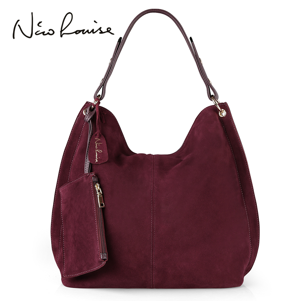 Nico Louise Women Real Split Suede Leather Hobo Bag Design Female Leisure Large Shoulder Bags With