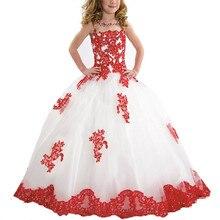FeiYanSha белые пухлые Платье с кружевными цветами для девочек для свадьбы одежда с длинным рукавом бальное платье для девочек вечерние причастие платье Vestidos