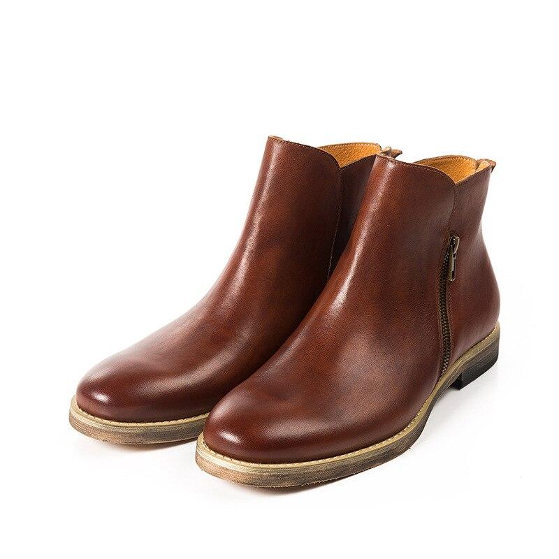 marrom cinza Ankle Coffee Botas Escuro Zipper Produto Borracha Chelsea Zapatos Mycoron De Boots Moda Conforto Casual Homens Impermeáveis Hombre Luxo Marrom H7wgU1