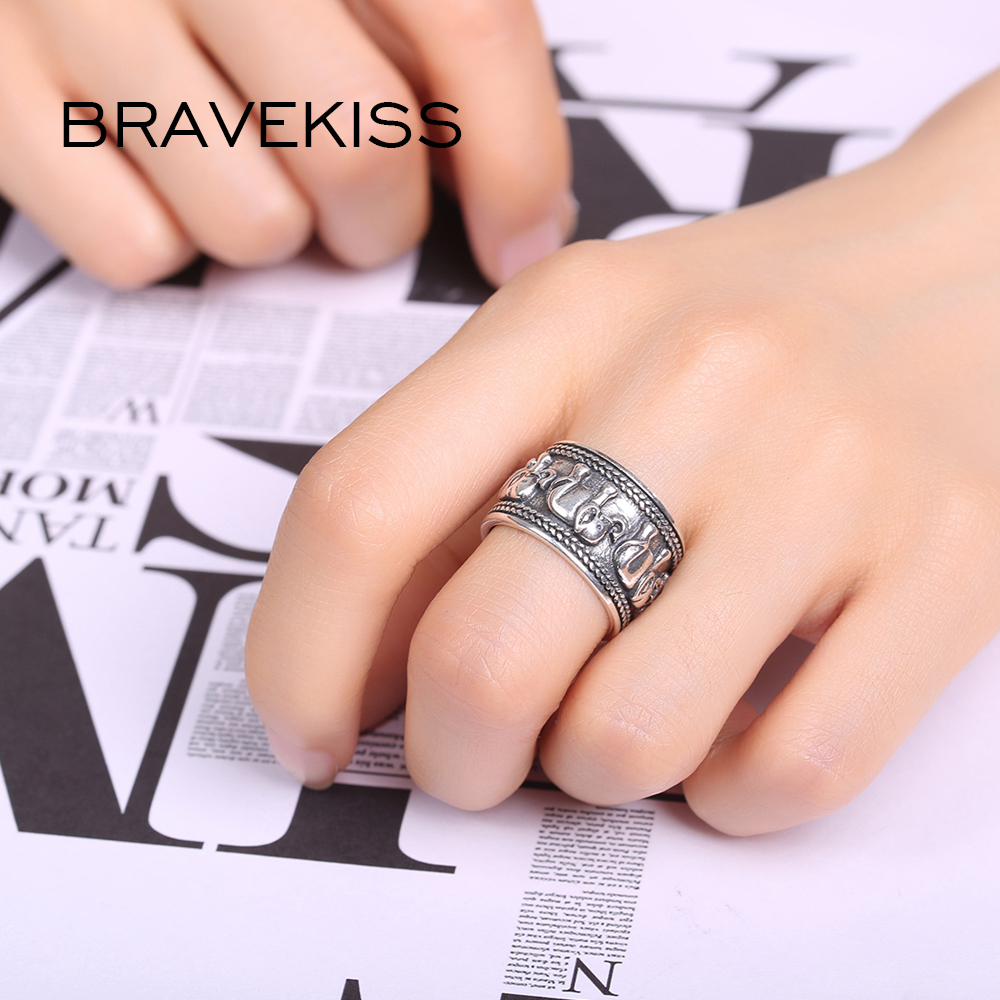 Image 2 - BRAVEKISS  925 Sterling Silver Elephant Ring Animal Antique Open Adjustable Wide Wedding Engraved Ring Jewelry for Woman BLR0309-in Wedding Bands from Jewelry & Accessories