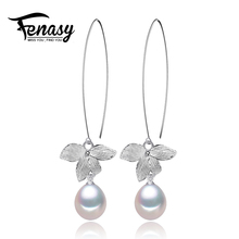 FENASY leaf pearl jewelry,natural pearl earrings cultured freshwater pearls with plated silver earring,Women girl gifts,2018 new