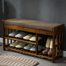 Bamboo Shoe Rack Storage Organizer & Hallway Bench Bamboo Furniture Cabinets for Shoe Home Entryway Shelf Stand Storage Ottoman