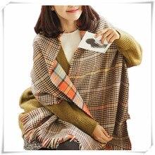 Sali 2017 Newly Design Fashion Women s Two Sided Tartan Scarf Shawl Stole Plaid Tassels Knitting