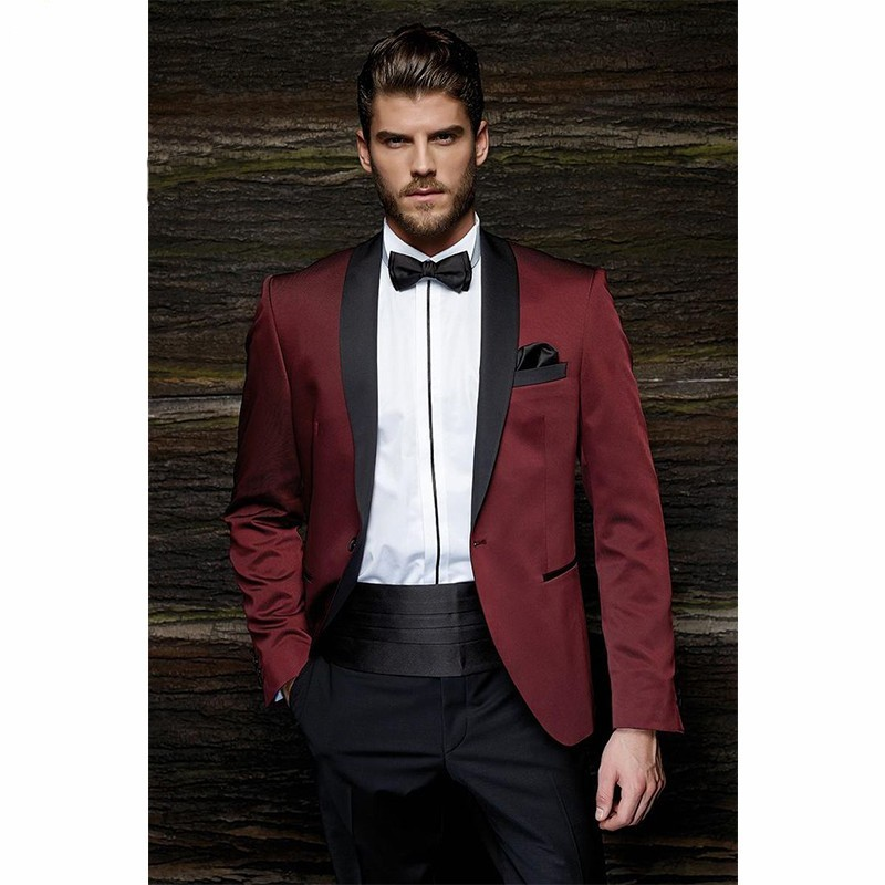 Fashion One Button Burgundy Groom Tuxedos Groom Men's Wedding Prom Suits dress wear wedding men suit (Jacket+Pants+Girdle+Tie)-in Suits from Men's Clothing    2