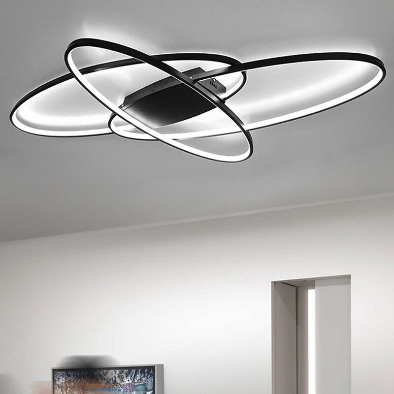 Chaude nouveau design À Distance gradation Moderne LED Lustre Pour Salon Chambre plafon LED Blanc/Noir moderne lustre Appareils