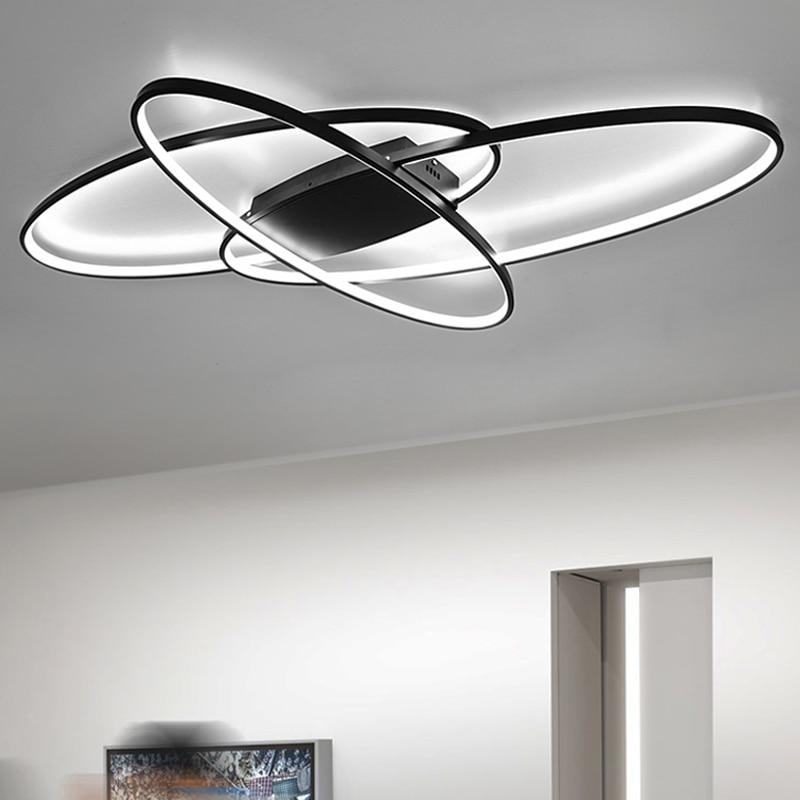 Heiße neue design Fernbedienung dimmen Moderne Led Kronleuchter Für Wohnzimmer Schlafzimmer plafon led Weiß/Schwarz moderne kronleuchter Leuchten