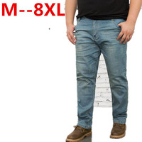 Mans High Waist Straight Jean Pants Plus Size 9XL 8XL 6XL 5XL 52 50 48 Autumn