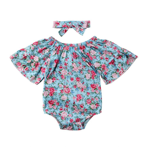 Floral Newborn Toddle Infant Baby Girls Shortsleeve Floral Bodysuit Jumpsuit Cotton Outfits Sunsuit 2Pcs Cotton Clothes 0-18M