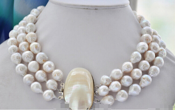 3strands 13mm white almost round keshi reborn Edison pearl necklace Factory Wholesale price Women Gift word Jewelry