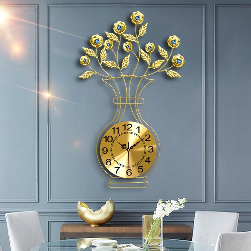 Роскошные большие настенные часы скандинавские золотые настенные часы для спальни немой гостиной современный Zegar Scienny подарок идея часы ме... - 3