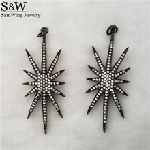 5pcs 2017 New black star trendy pendant aaa shinning CZ stone inlaied big star pendant for choker necklace