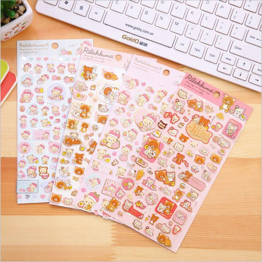 Stickers Diary Photo-Album Bronzing Sanrio Japan Rilakkuma Gold DIY Cartoon