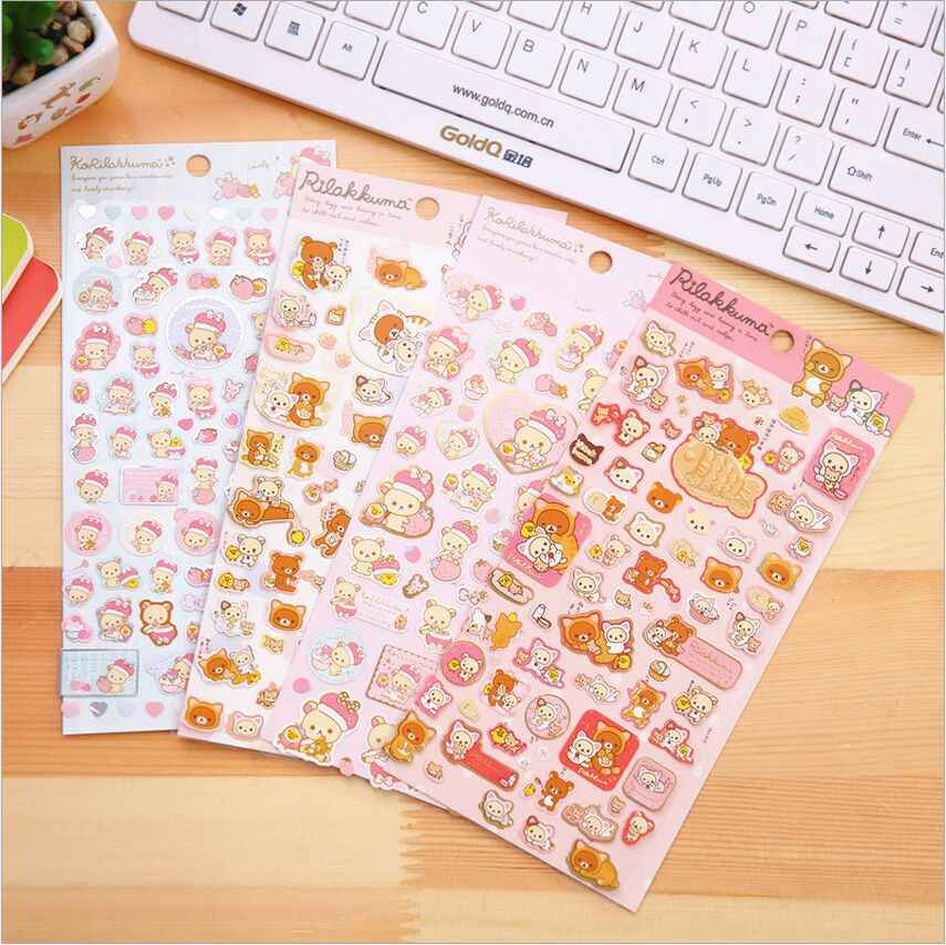 Japan Sanrio Rilakkuma Cartoon Gold Bronzing Stickers Diary Photo Album Label Sticker DIY Decorative Stickers