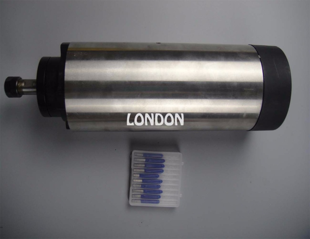 Kit mandrino cnc ER11 mandrino raffreddamento 1.5KW con 4 pezzi cuscinetto +10 pezzi punte per incisione cnc