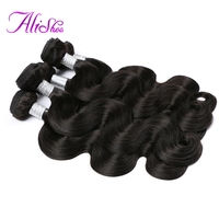 Alishes Hair Malaysian Body Wave Bundles Natural Color Non Remy Hair Weave 100 Human Hair Bundles