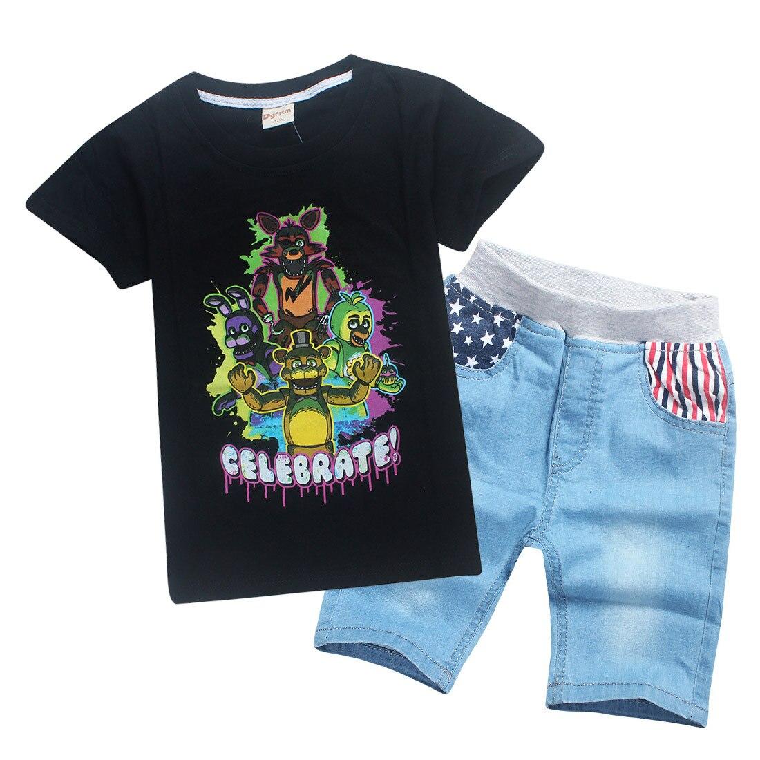 boys clothe summer round collar short sleeved T-shirt sportswear cartoon animal midnight ...
