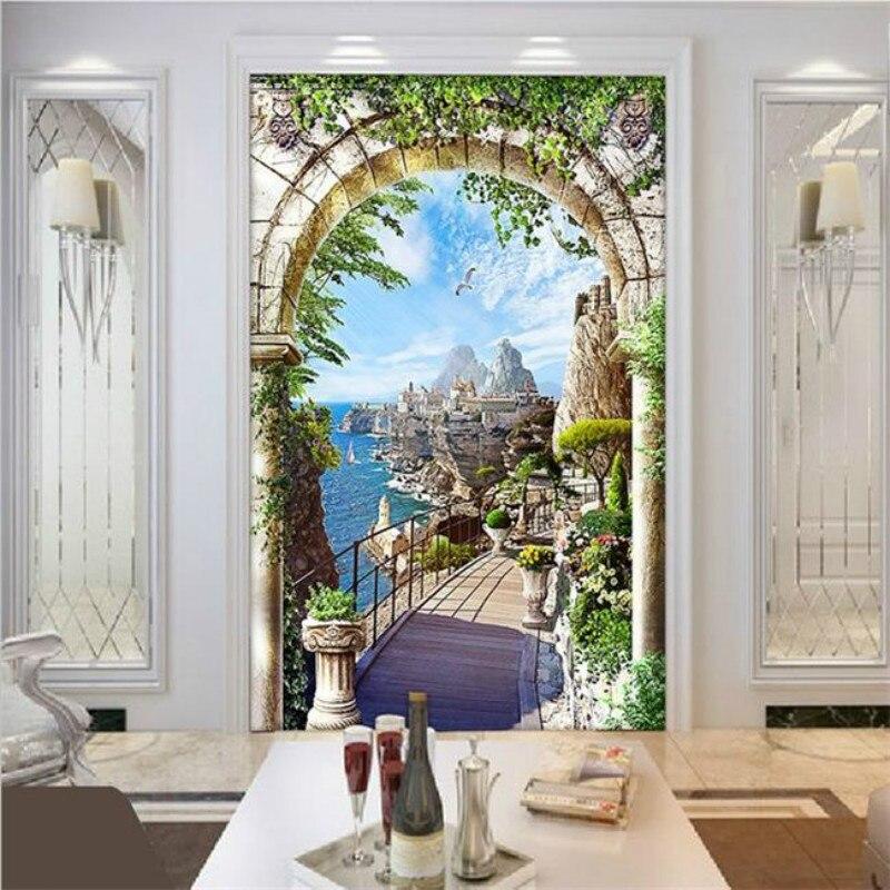 Online Kustom Kontinental Entrance Archway Landscape Pantai Mural Wallpaper Background Ruang Tamu Lorong Aliexpress Mobile