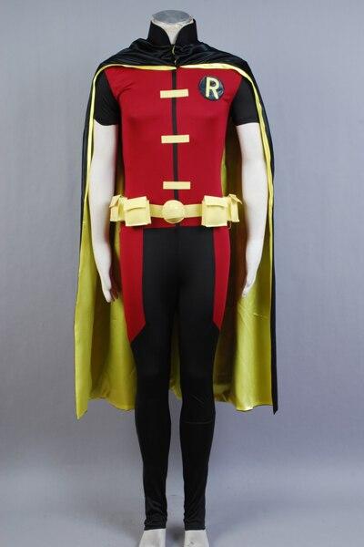 Goed Jong Justice Robin Uniform Mannen Hero Jumpsuit + Riem + Cape + Slaapmasker + Handschoenen Carnaval Halloween Cosplay Kostuum Voor Volwassen Mannen