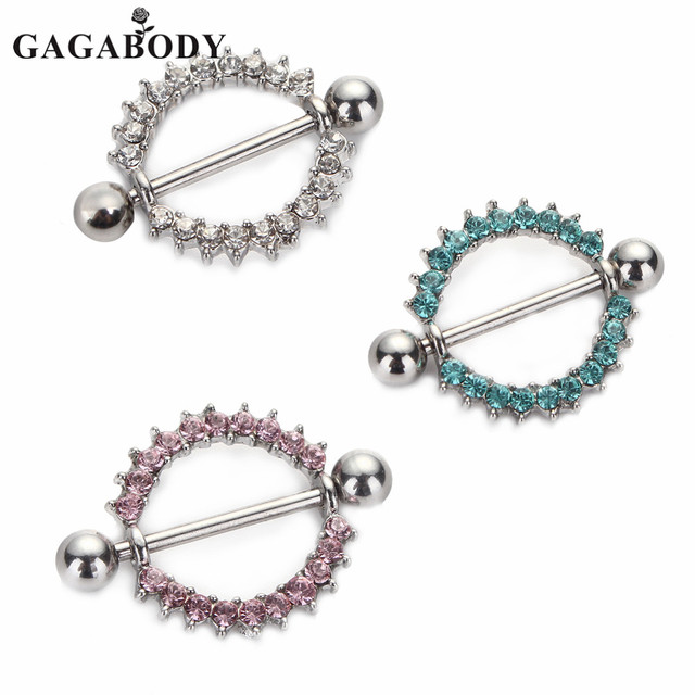 00b893fd2407e1 Silver-Color/Blue/Pink CZ Gem Paved Circle Nipple Shield Piercing Rings Body