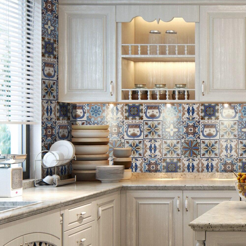 3D Wallpaper Moroccan Wall Stickers Waterproof Kitchen Toilet Living Room Murals