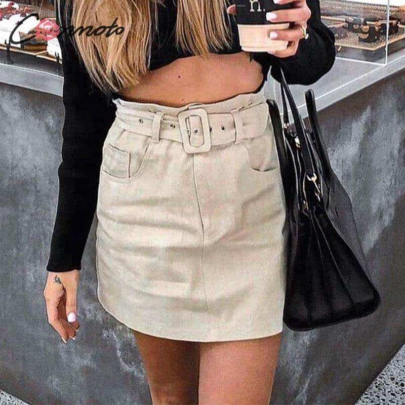 Conmoto Autumn Winter Women Short Skirts Female 2019 Fashion High Waist Belt Office Skirt Chic High Street Straight Mini Skirts