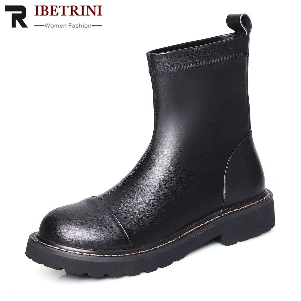 Ritrahini mode marque Design Top qualité grande taille 42 véritable cuir Chunky talons bottes femme chaussures femmes chaussures décontractées bottes
