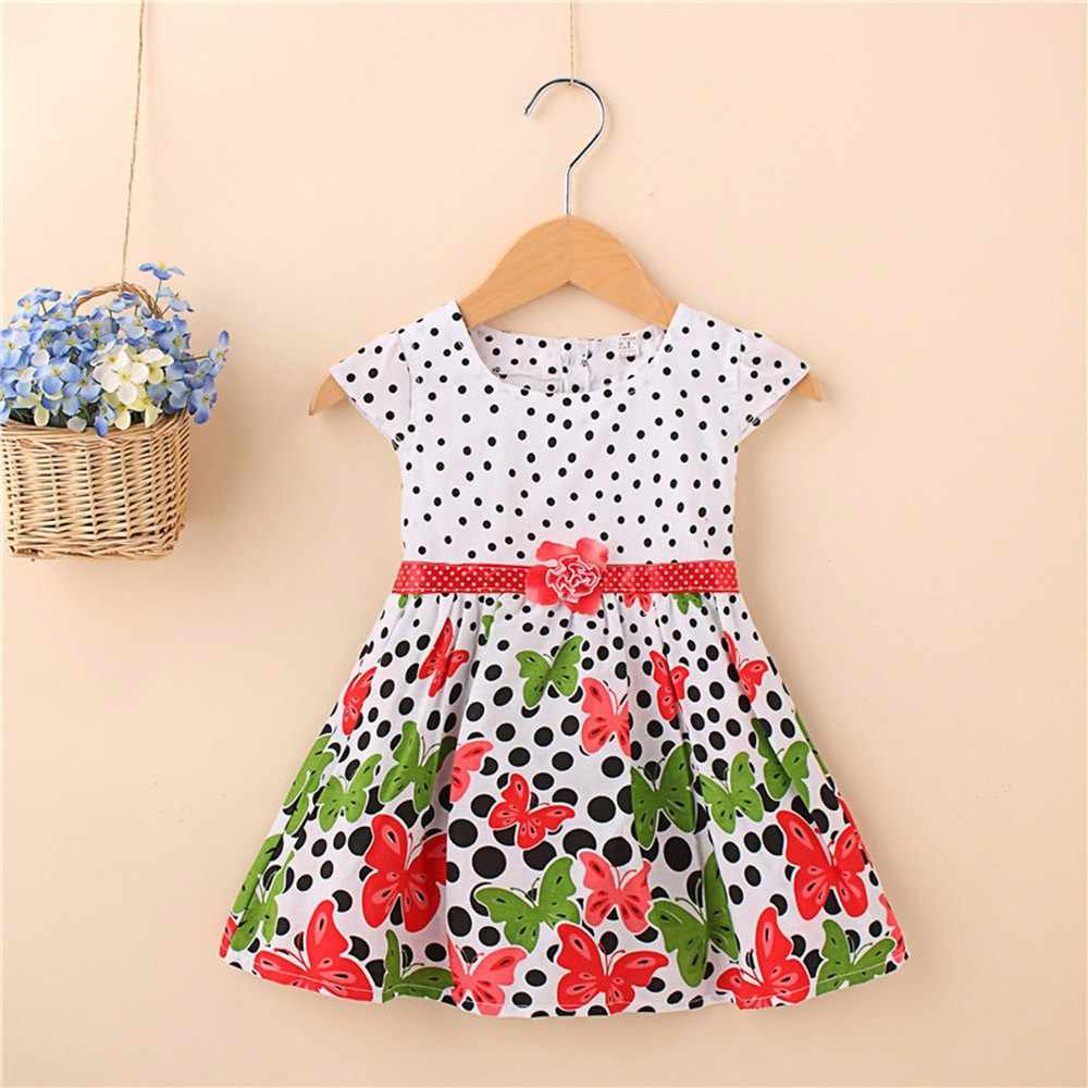 Toddler Kids Dress Infant Baby Girls Cotton Casual Clothes Dot Butterfly Print Flower Sleeveless Dress Princess Summer Outfits