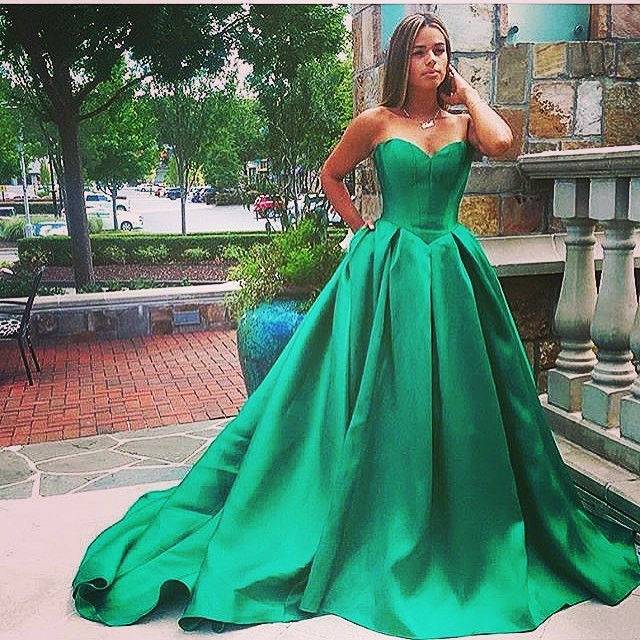 DZW602 Robe de soiree Ball Gown   Evening     Dresses   Sweetheart Long Prom   Dresses   Backless Green Satin Formal   Dress   vestidos de festa