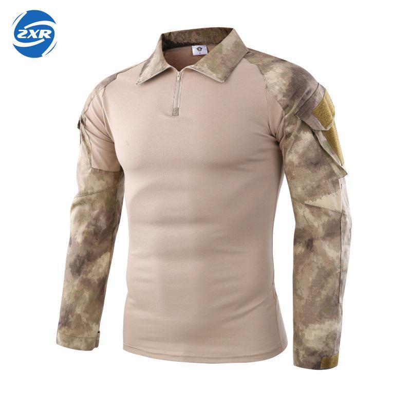 גברים חיילי לחימה טקטי להרוס הסוואה צבא טיולים חולצות כוח צבאי מרובה Camo ארוך שרוול ציד חולצה