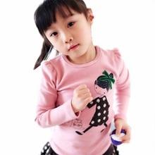 Пуловер kid футболка хлопка топы длинным детская девушки рукавом одежда с
