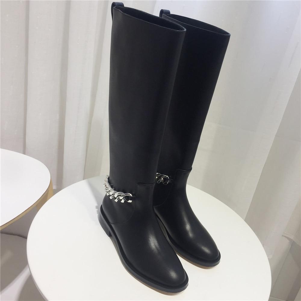 D'hiver Chevalier Knee Automne Zapatos Décor Pic On Slip Chaud Cuir Métal Bottes En Femme Conception Chaîne High As Mujer Véritable Pw45xrqw