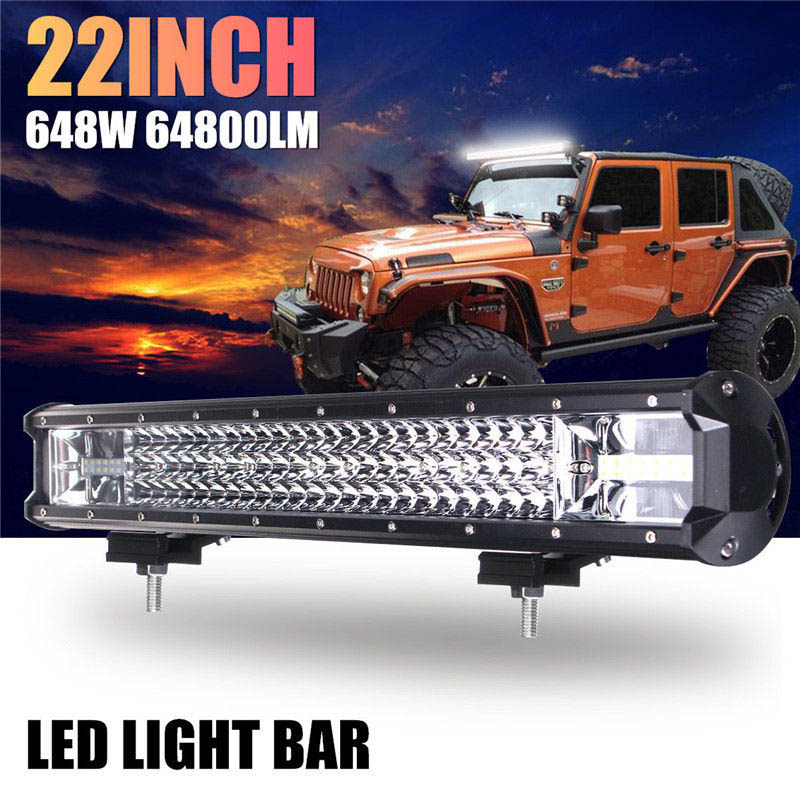 22 Inch 648W Auto LED Work Light Bar Flood Spot Combo Driving Lamp For Car Truck Offroad CSL2017 17 inch 108w led light bar spot flood combo light led work light bar off road truck tractor suv 4x4 led car light 12v 24v