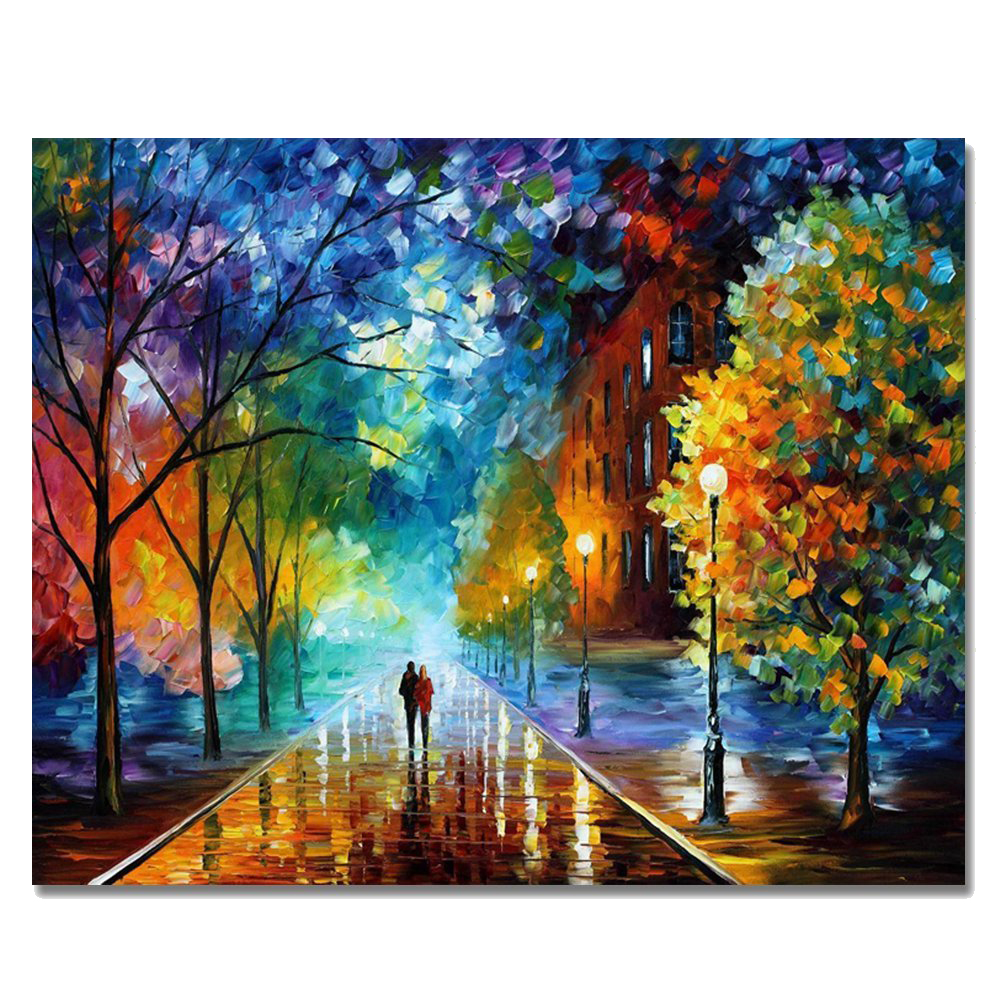 Frame DIY Oil Painting By Numbers Picture Wall Acrylic Abstract Drawing Coloring Unique Gifts Paint-Romantic Love Night Rain