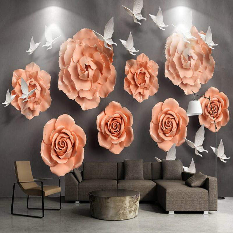 Custom 3d Wall Paper Silk Wallpaper for Walls 3d Murals Background Embossed Flowers Bedroom Living Room Home Improvement