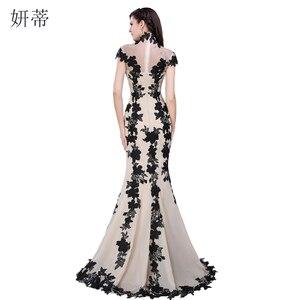 Image 2 - Vestido de noche de sirena de manga corta, negro elegante, apliques de gasa para baile de graduación, 100% a medida, imagen real, transparente, 2018