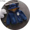 Winter Boys Girls Warm Jeans Coat Children Thick Velete Warm Outerwear Baby Kids Cartoon Hooded Jacket Toddler Padded Jacket