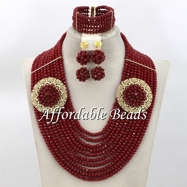 Red Indian Bridal Jewelry Sets Wedding Best Selling Nigerian