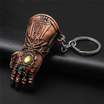 Marvel Avengers Infinity War Thanos Glove Gauntlet Keychain Gold Color 9