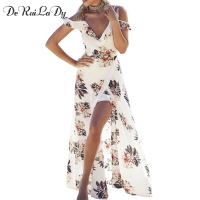 DeRuiLaDy Boho Style Chiffon Long Dress Floral Print Ruffles Maxi Dresses Casual Women Summer Beach Dress