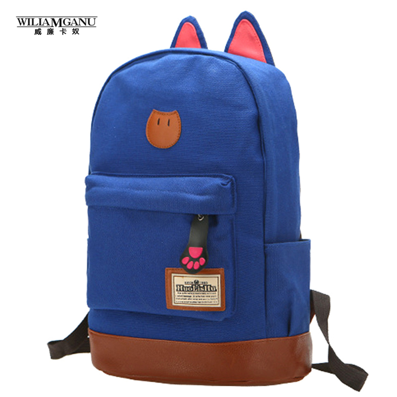 WILIAMGANU 2017 campus School bag girls backpack women travel bag of young men canvas backpack bags Cat ears cartoon package