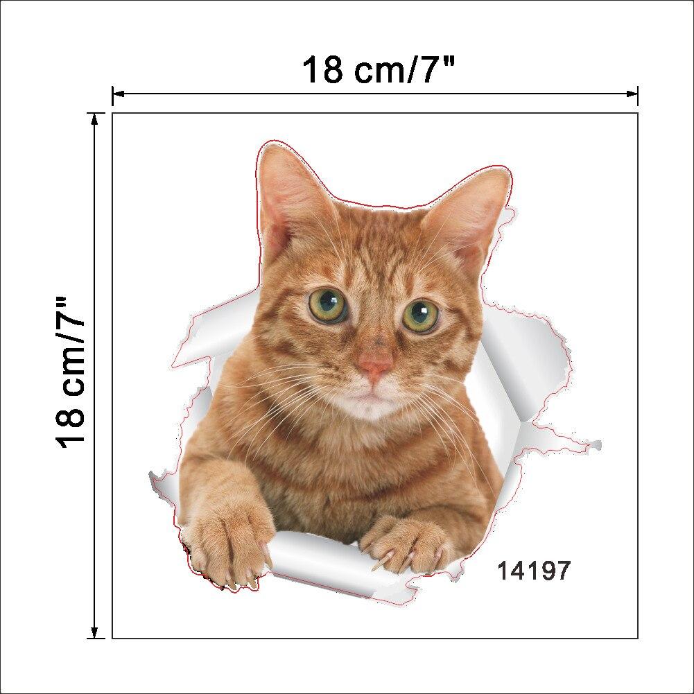 """1 шт. 3D милые наклейки """"сделай сам"""" с котом, наклейки на стену для всей семьи, украшения для окна, комнаты, ванной комнаты, унитаза, декоративные кухонные аксессуары - Цвет: 18 x 18 cm-22"""